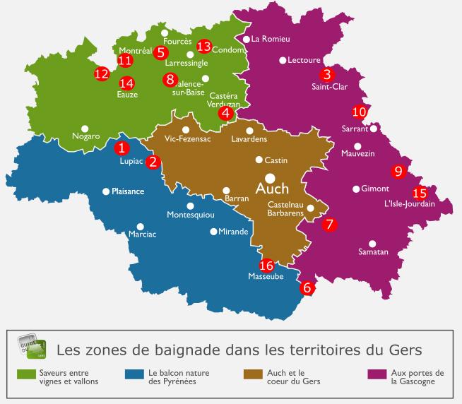 Carte des zones de baignade dans le Gers