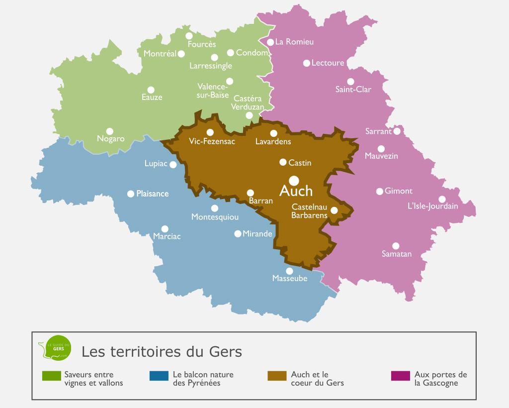Carte du terrtiroire : Auch et le coeur du Gers